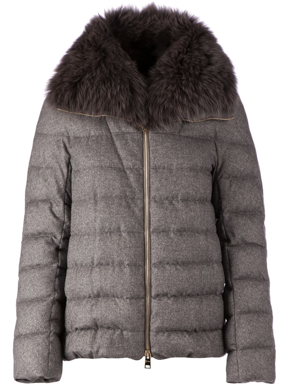 Herno Fox Fur Collar Feather Down Coat in Gray | Lyst