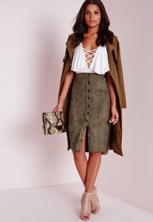 Missguided Button Through Faux Suede Midi Skirt Khaki in Natural ...