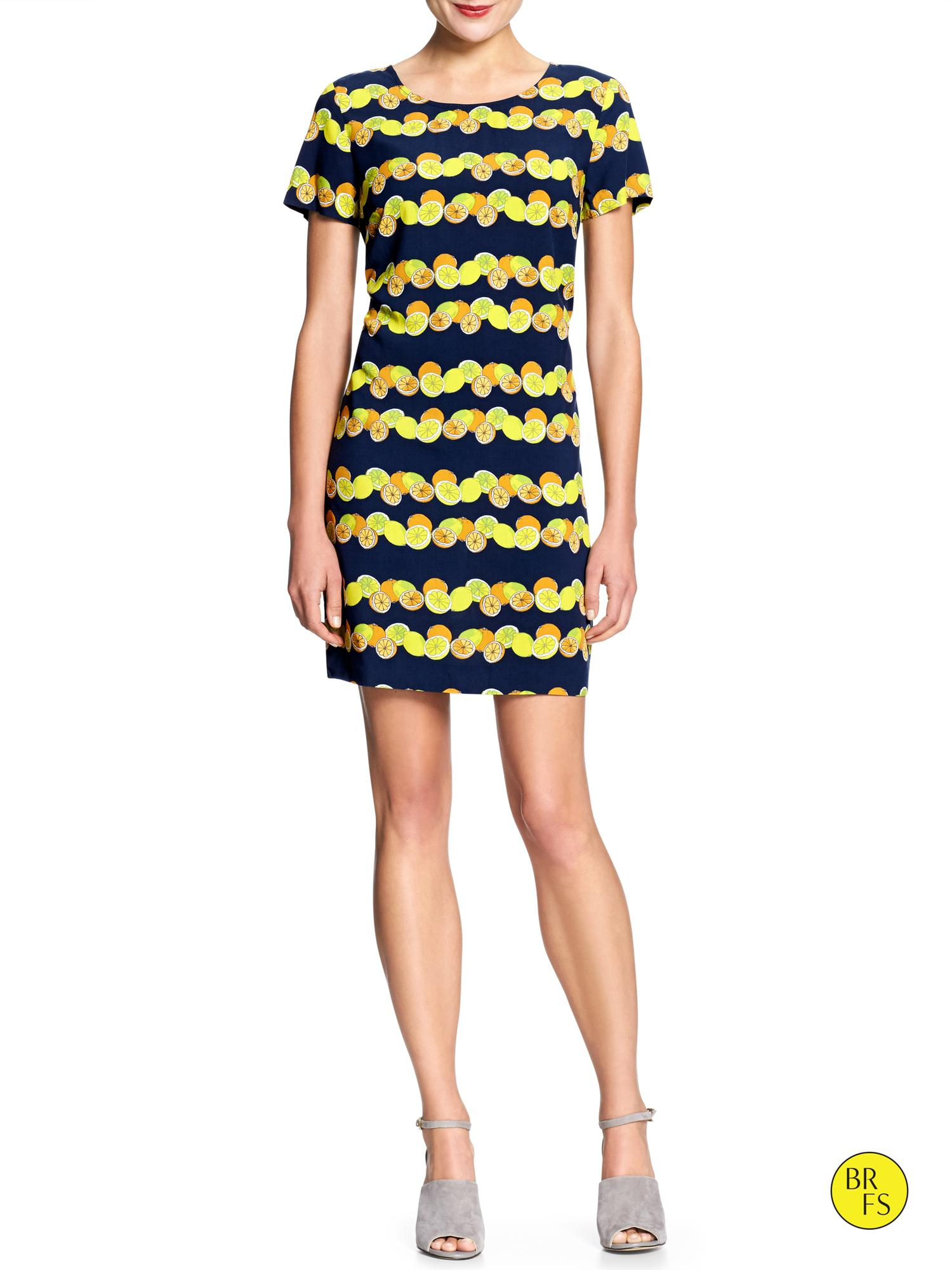 Banana Republic Factory Print Shirt Dress In Yellow Cool