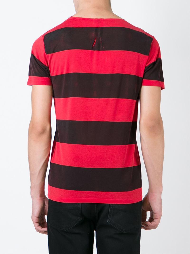 Lyst saint laurent striped cotton t shirt in red for men for Saint laurent t shirt