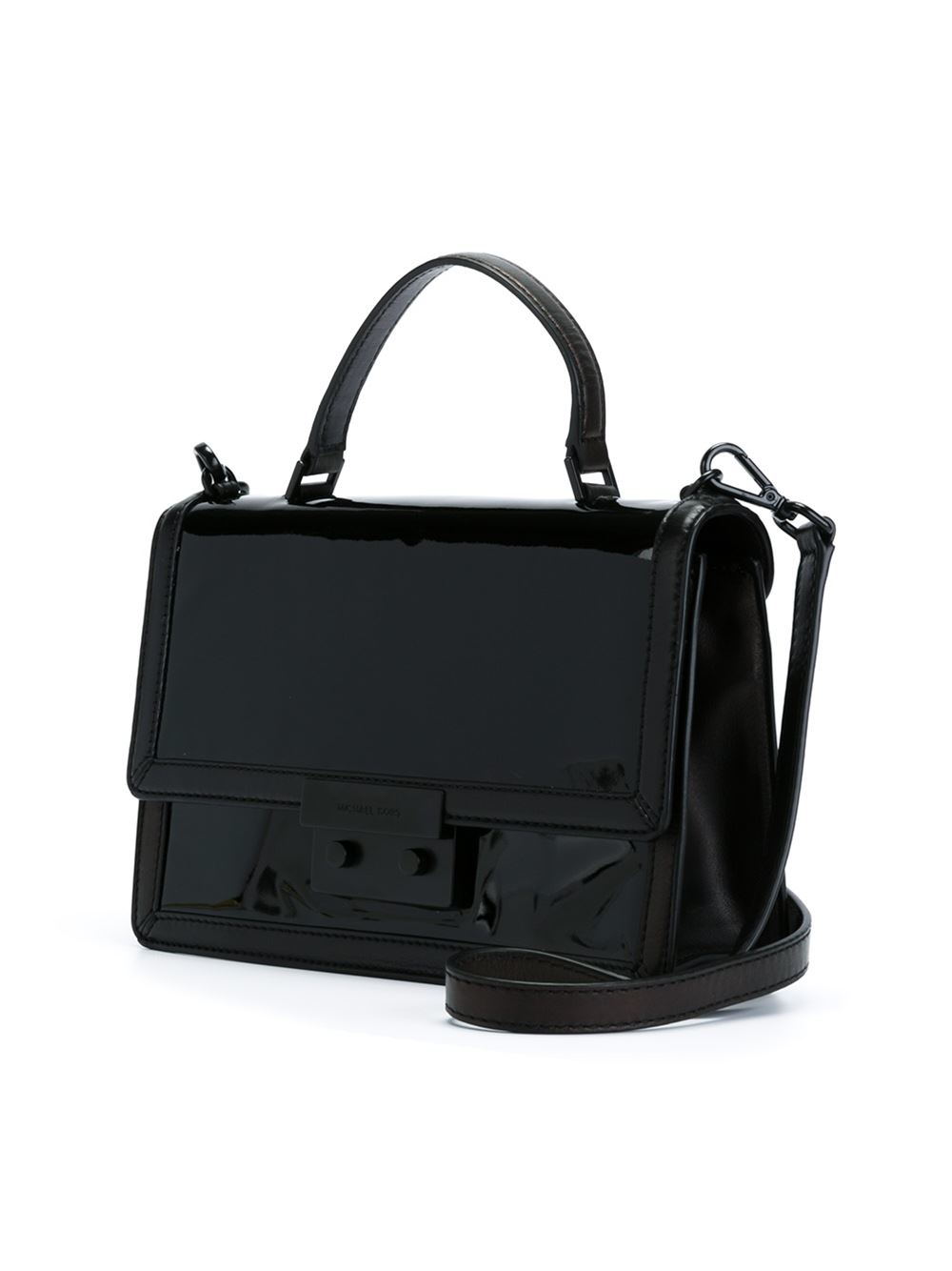 1a1e15e88b69 MICHAEL Michael Kors Callie Patent-Leather Cross-Body Bag in Black ...
