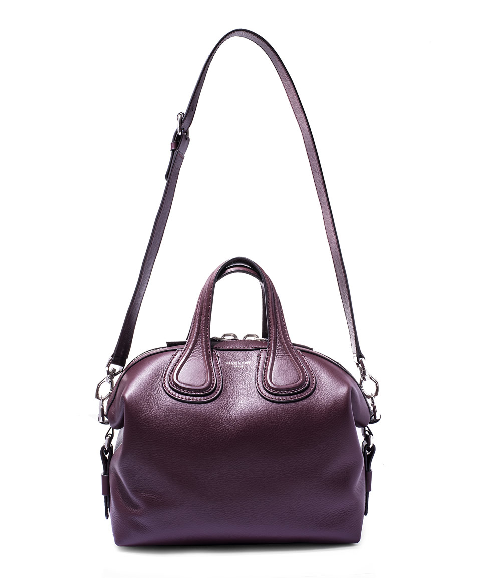 b97ac7739976 Lyst - Givenchy Small Burgundy Nightingale Waxed Leather Bag in Purple