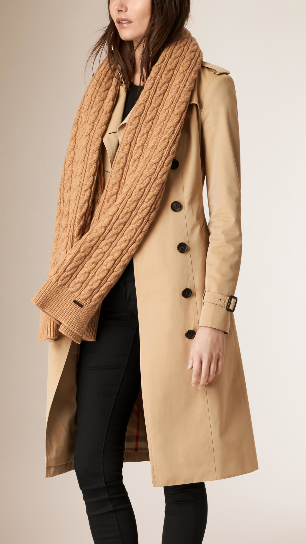 Knitting Pattern Burberry Scarf : Burberry Wool Cashmere Cable Knit Scarf Camel in Natural (CAMEL) Lyst