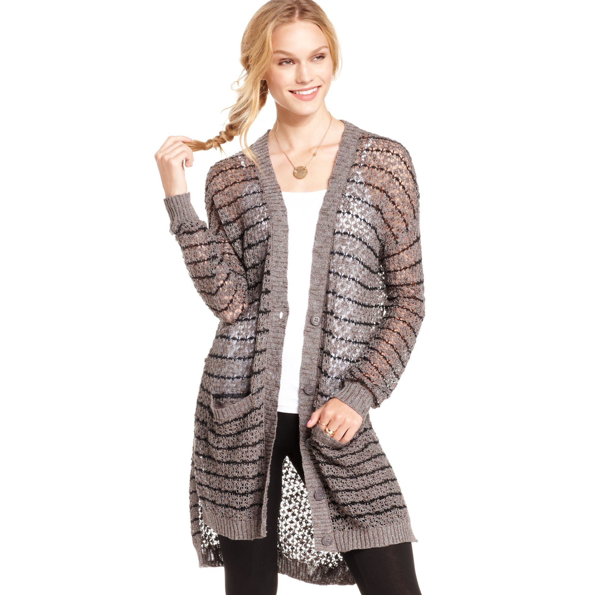 Jessica simpson Ruth Openknit Duster Cardigan in Purple | Lyst