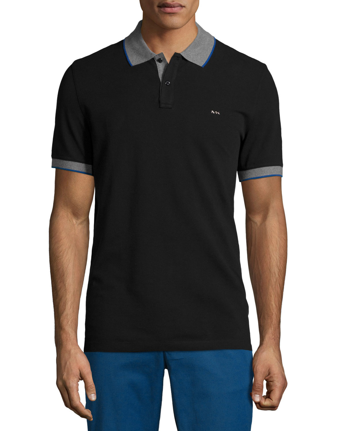 c25812dd Michael Kors Tape-tipped Short-sleeve Pique Polo Shirt in Black for ...