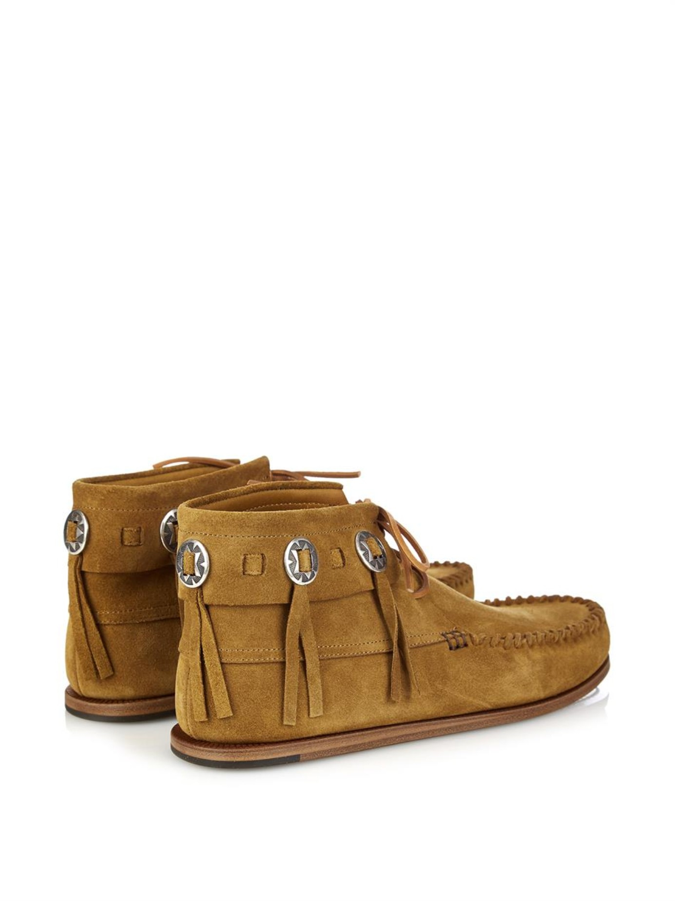 laurent concho suede moccasin ankle boots in brown