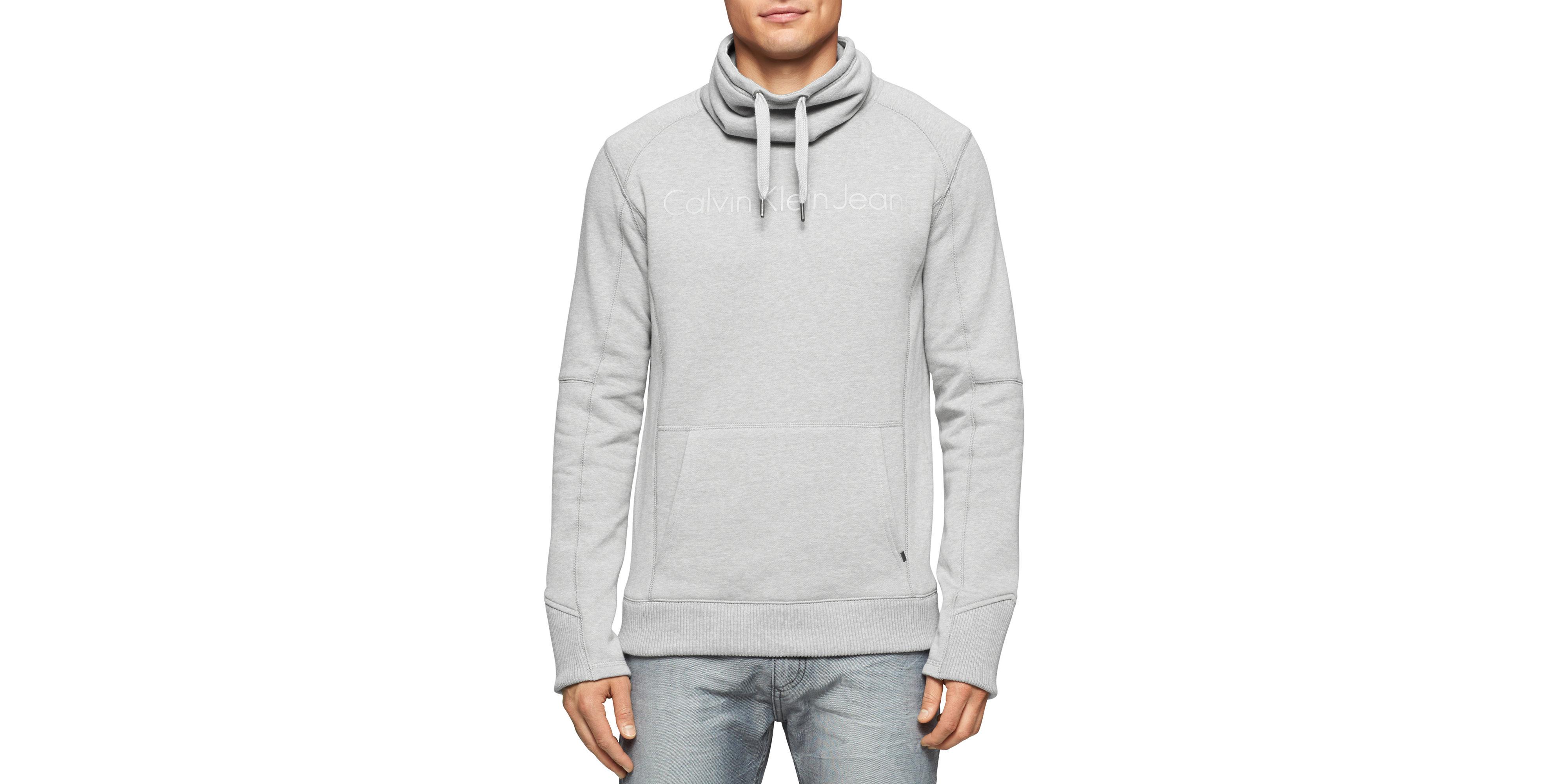 calvin klein jeans fleece funnel neck sweater in gray for. Black Bedroom Furniture Sets. Home Design Ideas