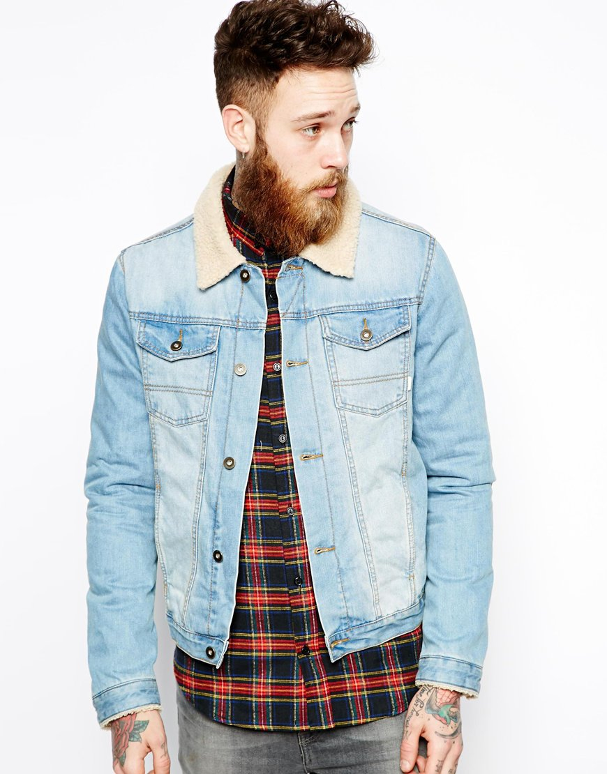 Lyst Asos Denim Jacket With Borg Collar In Blue For Men