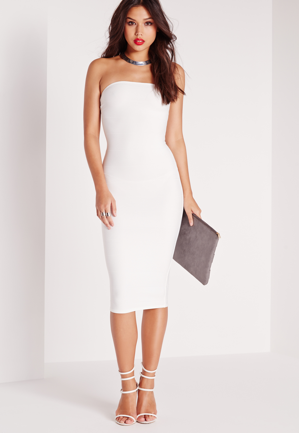 b5389fe3e58 Lyst - Missguided Strapless Bandage Bodycon Midi Dress White in White