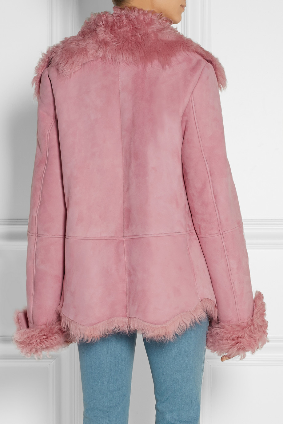 Michael kors Shearling Coat in Pink | Lyst