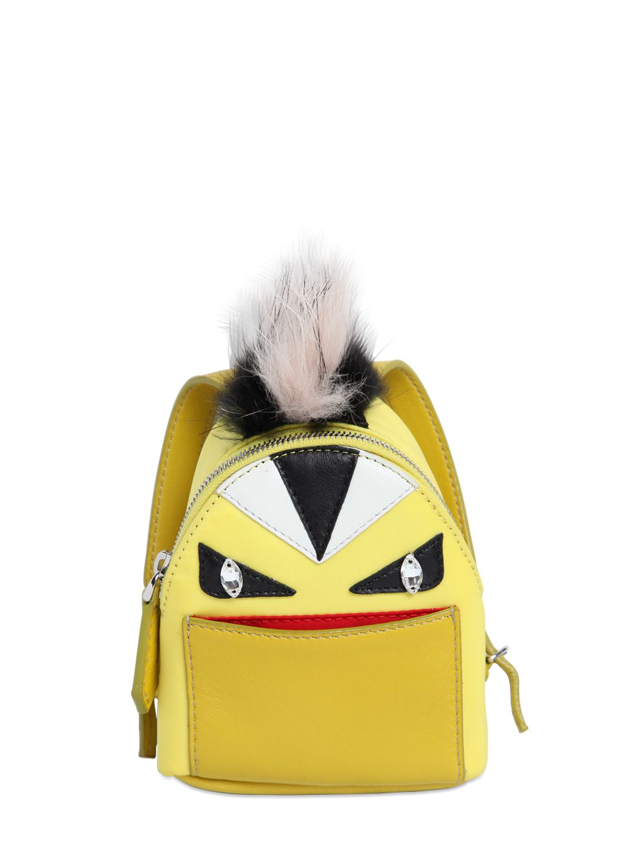 e778e67b8b3c Lyst - Fendi Monster Animation Bag Charm With Fur