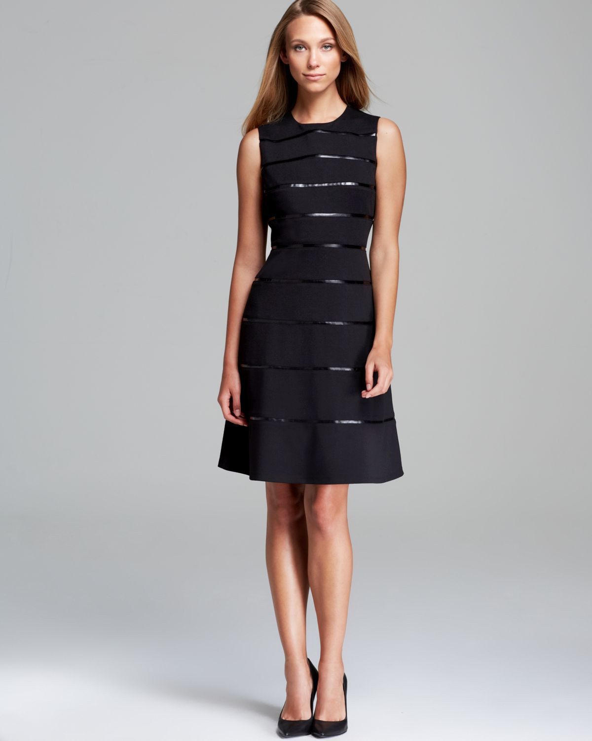 Calvin Klein Sleeveless Fit And Flare Dress In Black