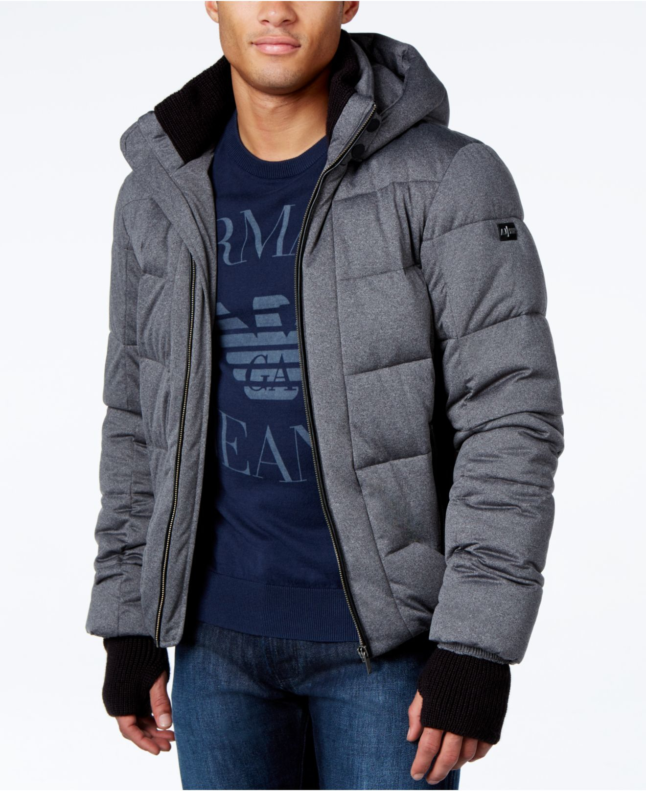 Lyst Armani Jeans Quilted Ribbed Trim Puffer Coat With Hood In