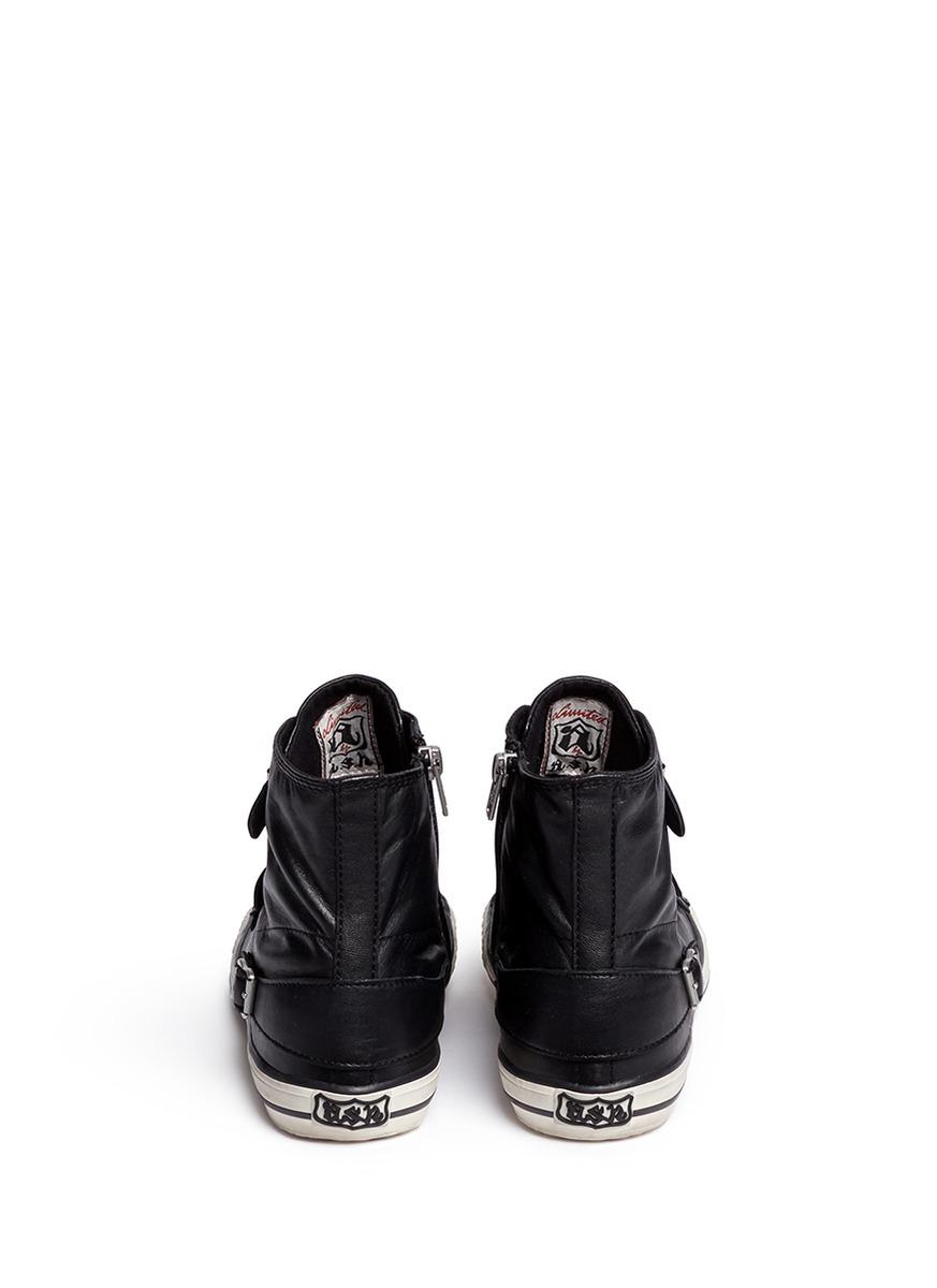 e7e9ede5fde4c Lyst - Ash  virgin  Buckle Leather High Top Sneakers in Black