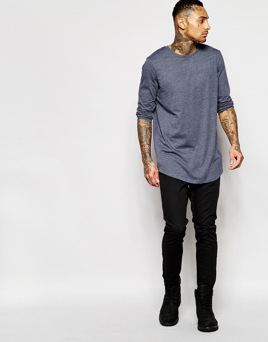 Sale Get To Buy DESIGN relaxed longline long sleeve t-shirt with contrast yoke and curve hem - Green Asos Discount Ebay Sale Huge Surprise TeQsiksVie