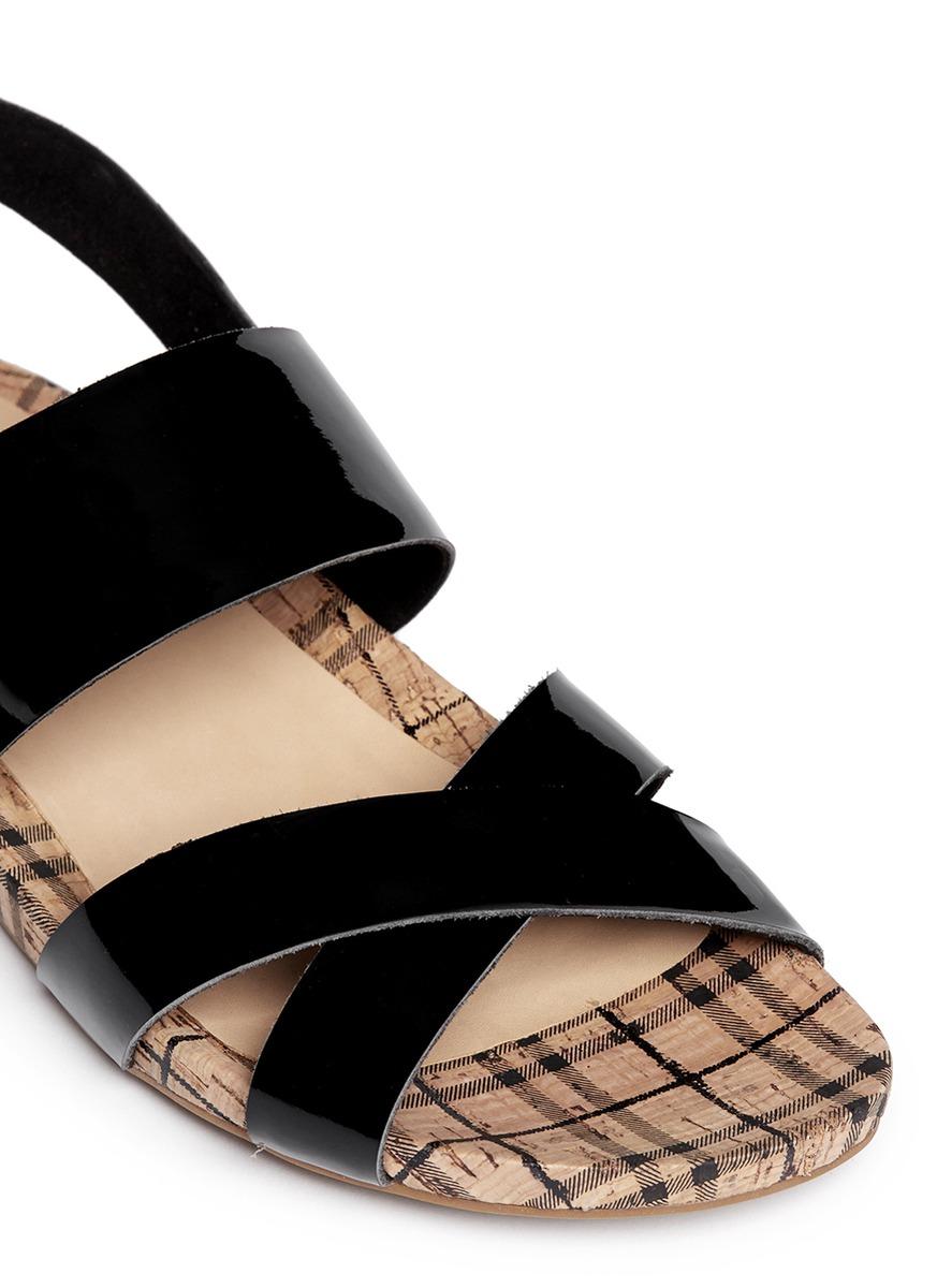 Lyst pedder red patent leather strap tartan cork sandals in black for Black leather strap