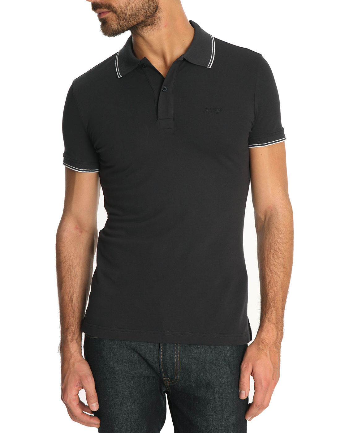 Armani Jeans Navy Slim Fit Polo Shirt With Line Trim In