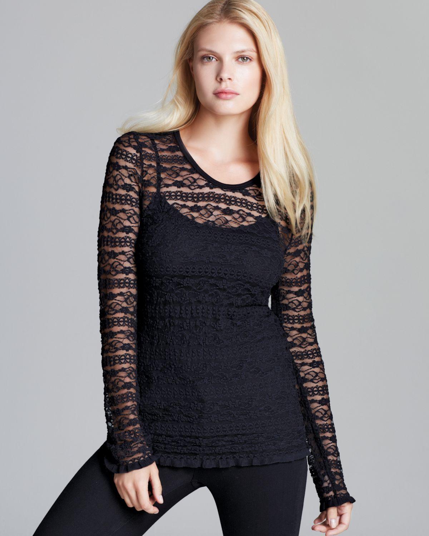 Karen Kane Long Sleeve Lace Top In Black Lyst