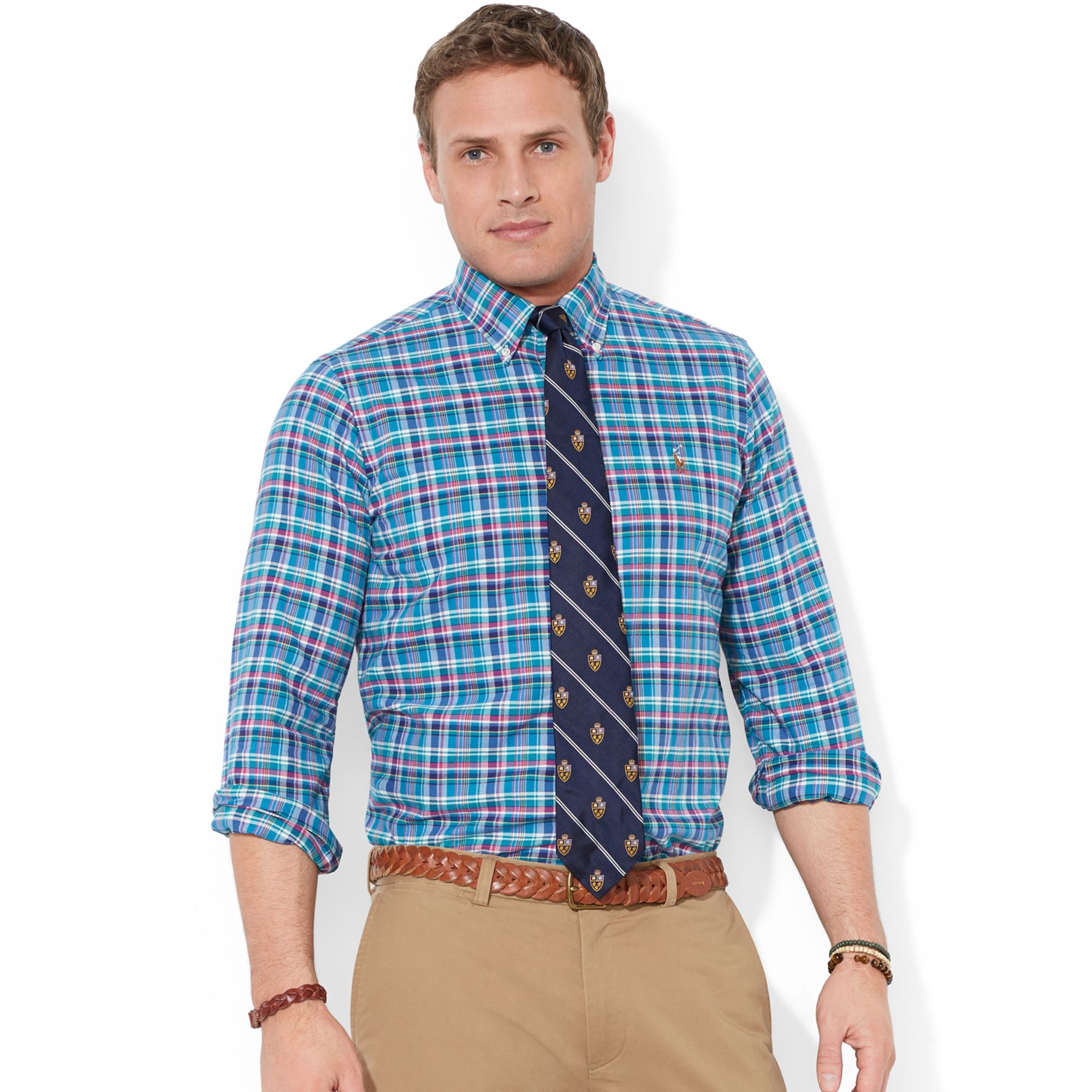 Polo ralph lauren big and tall long sleeve plaid oxford for Big and tall oxford shirts