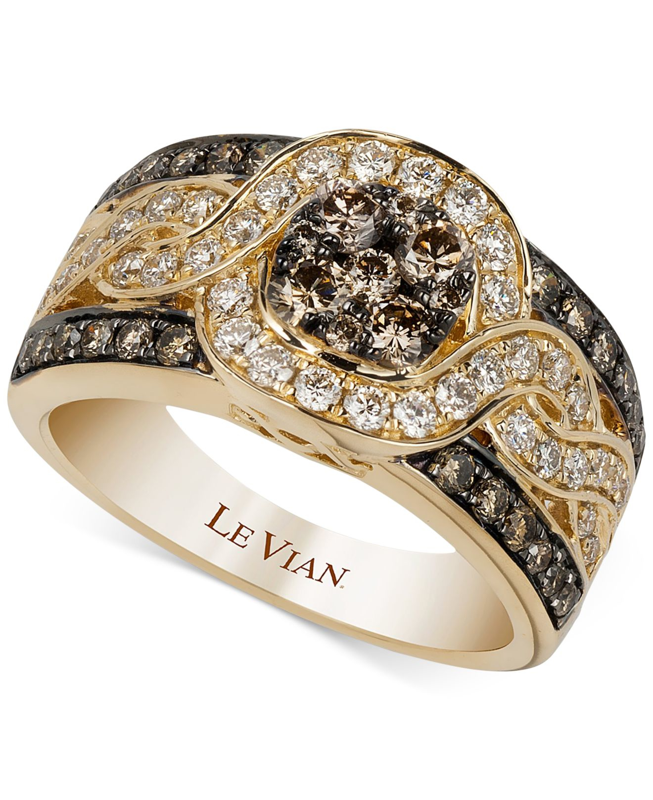 le gold diamond t in chocolate engagement set rings bridal w media and vian ct white tw wedding certified