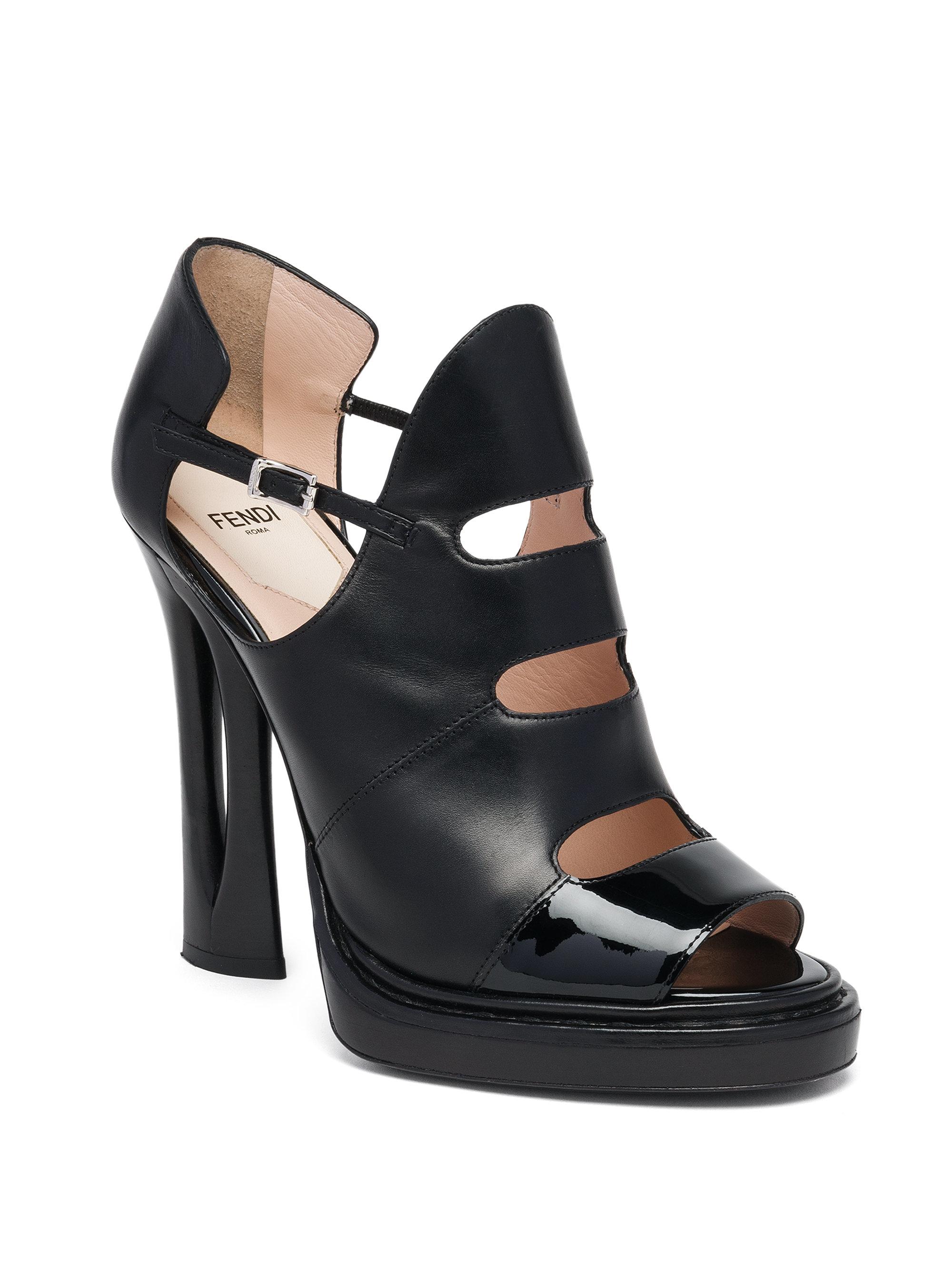 Lyst - Fendi Flowerland Runway Leather   Patent Peep-toe Booties in ... b5775b983