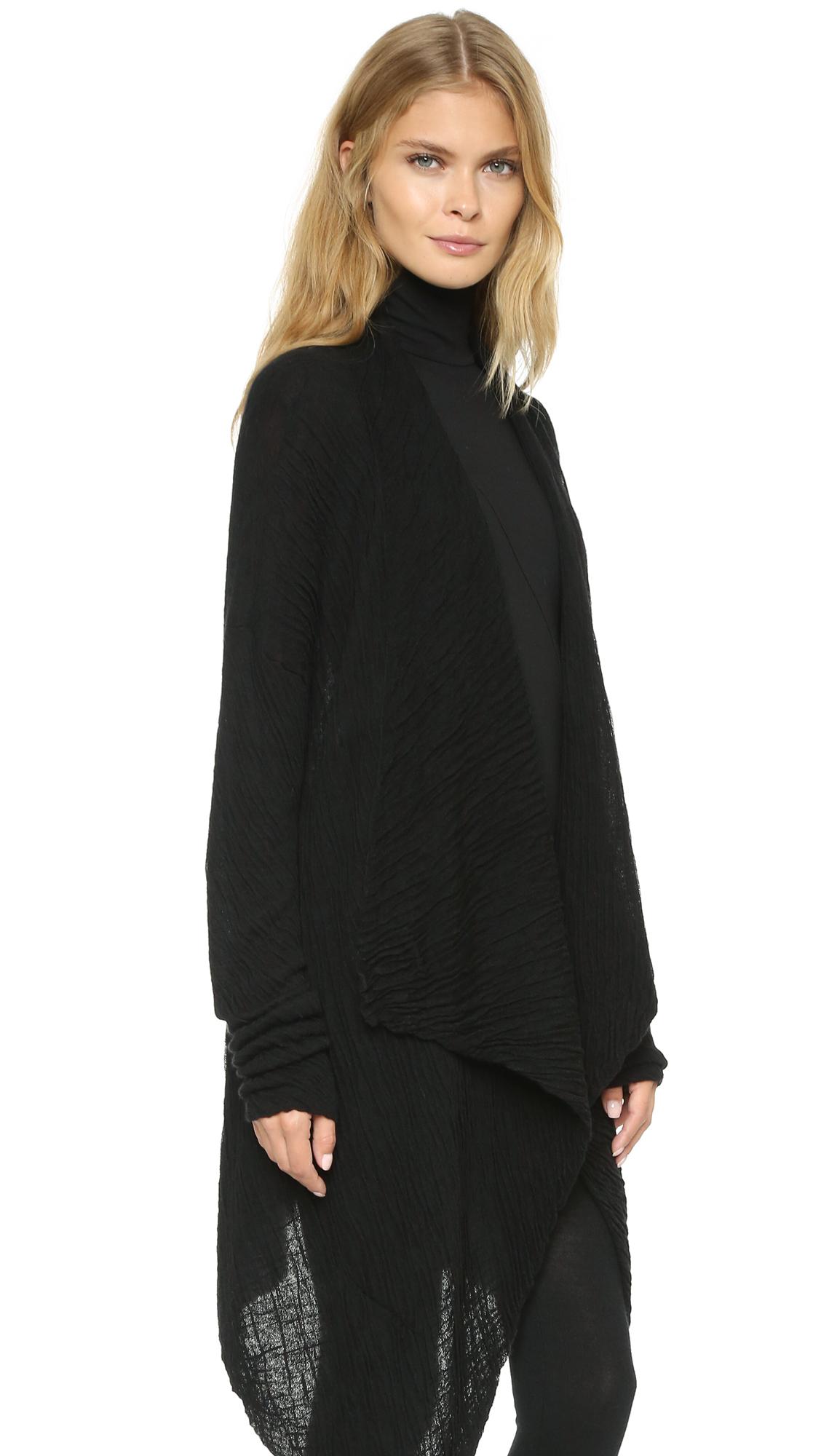 donna karan cozy cashmere cardigan black in black lyst. Black Bedroom Furniture Sets. Home Design Ideas