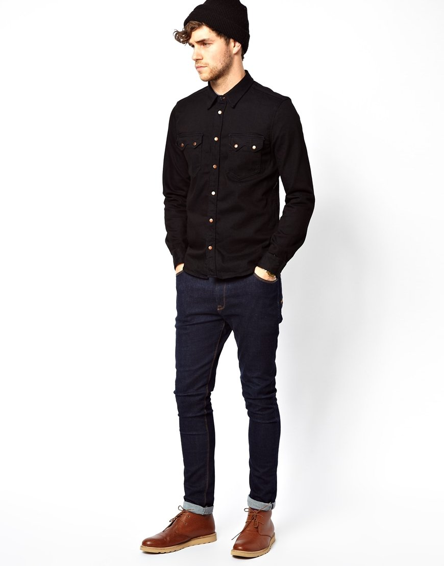 Nudie jeans nudie denim shirt gusten black on blue in blue Black shirt blue jeans