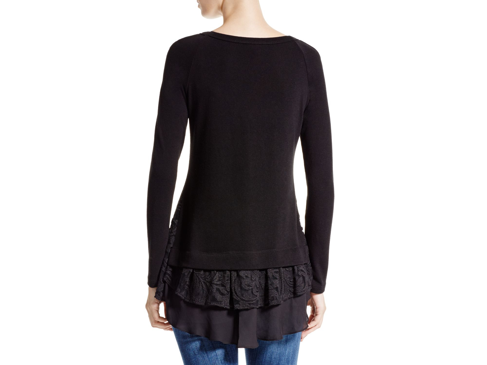 Karen kane Lace And Chiffon Trim Sweater in Black | Lyst