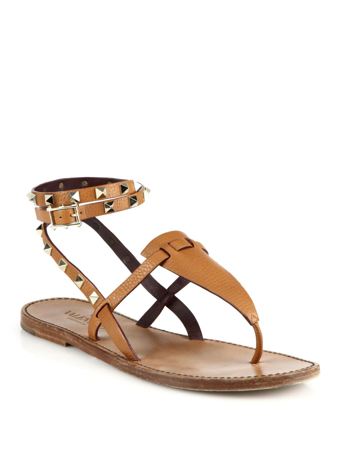 6467cb307b8d Lyst - Valentino Rockstud Wrap-around Strap Leather Thong Sandals in ...