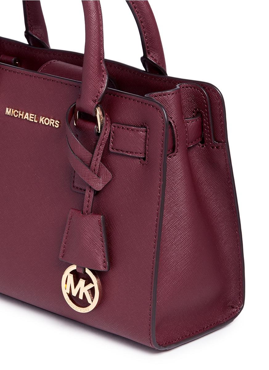 ffb2e46c04 ... new style lyst michael kors dillon small saffiano leather satchel in  brown 17892 f041e