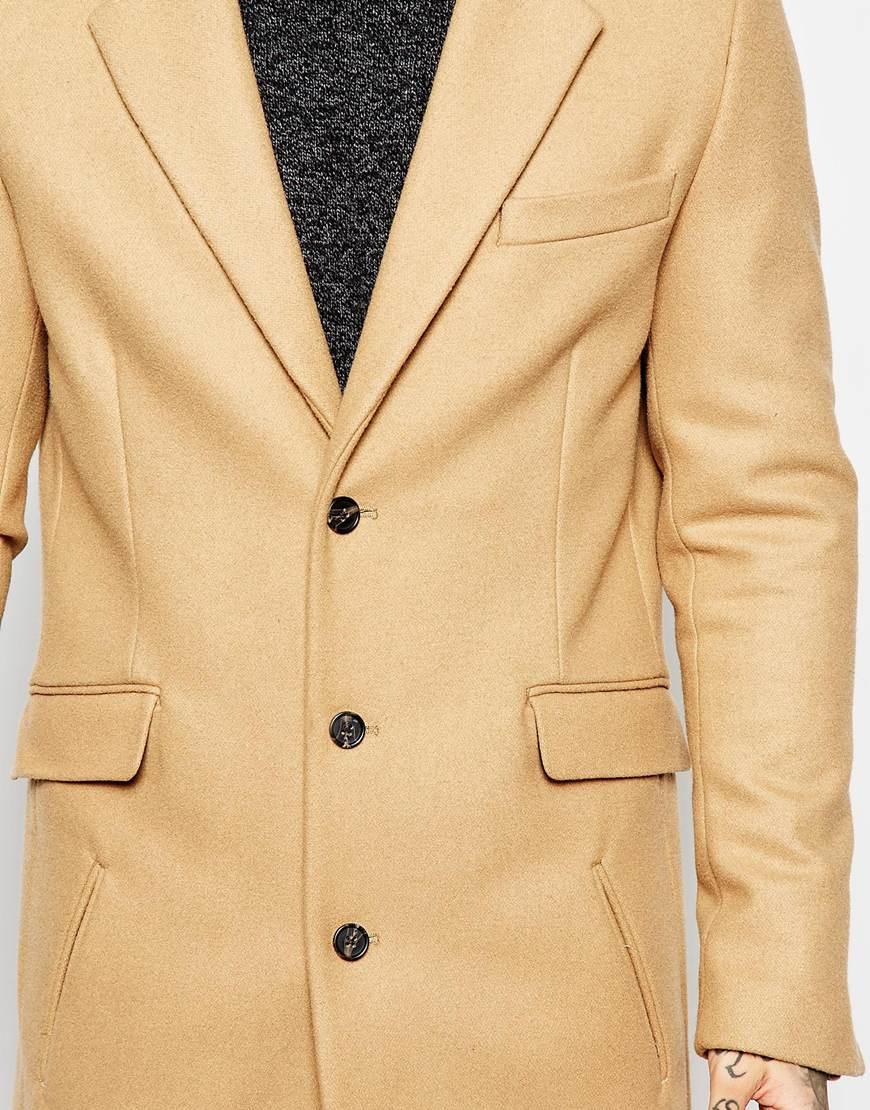 Lyst Asos Wool Overcoat In Camel In Natural For Men