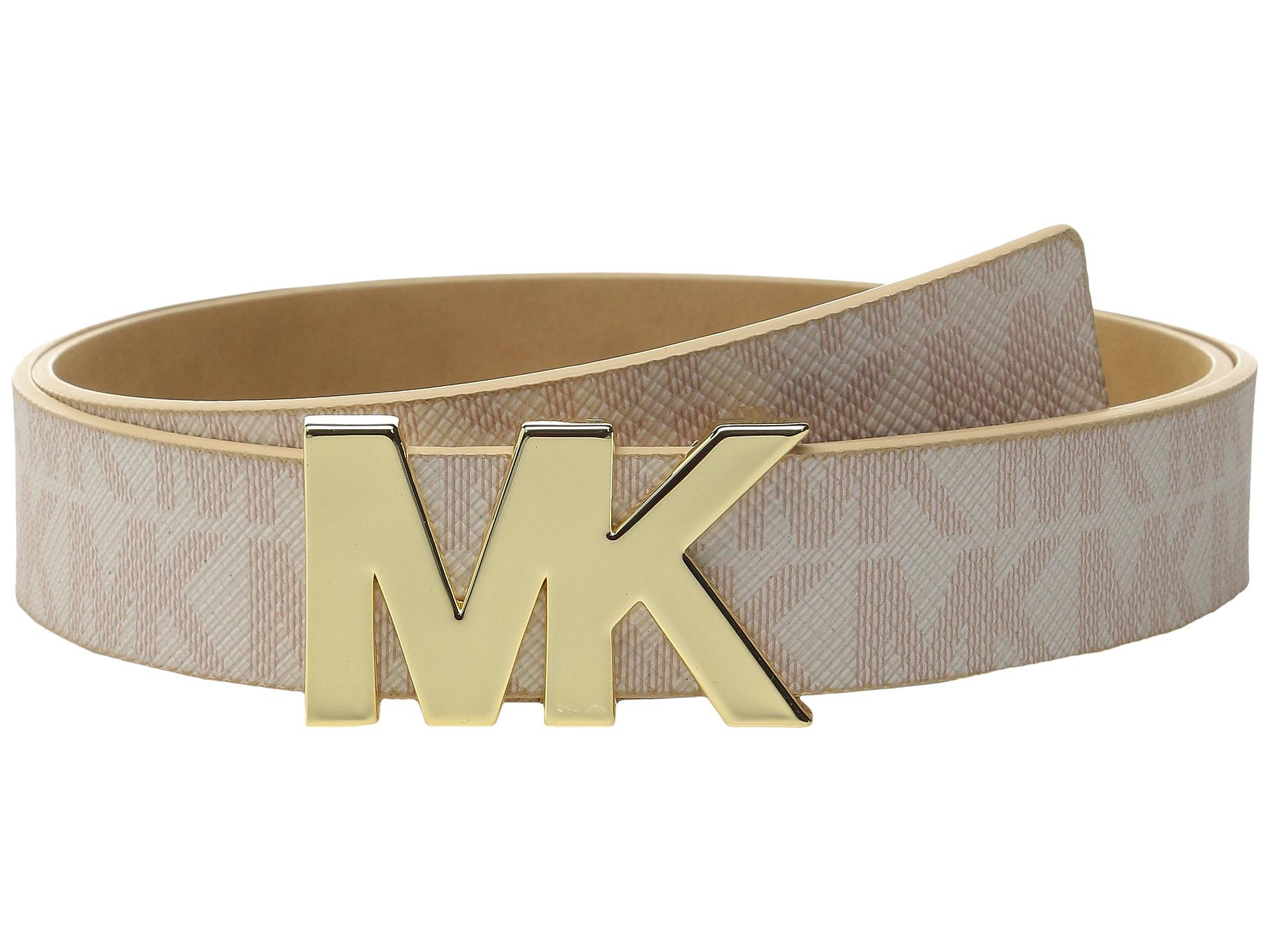 6455ff00e812e Lyst - MICHAEL Michael Kors 32mm Logo Pvc Panel On Mk Plaque Buckle Belt