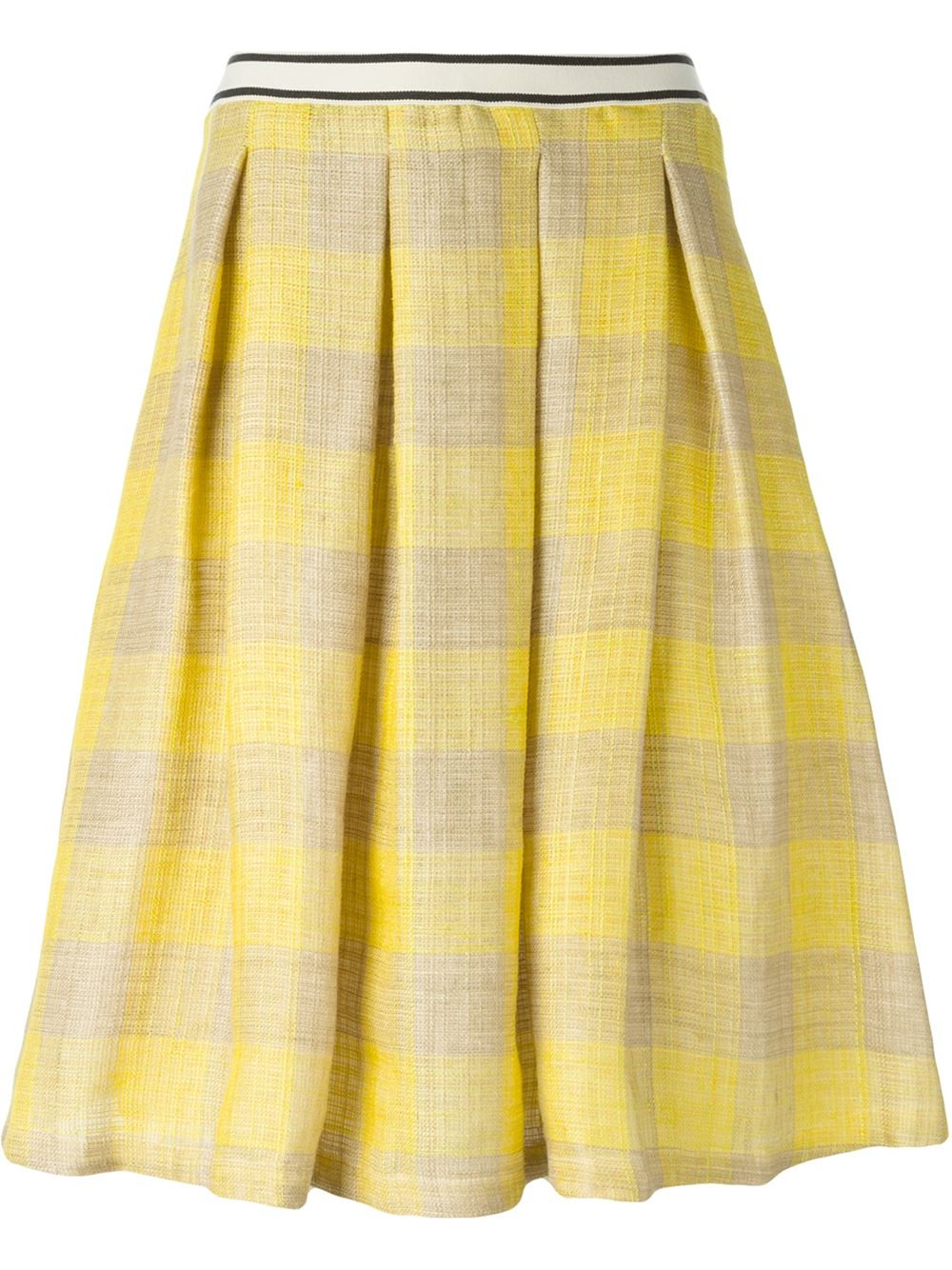 erika cavallini semi couture checked pleated skirt in
