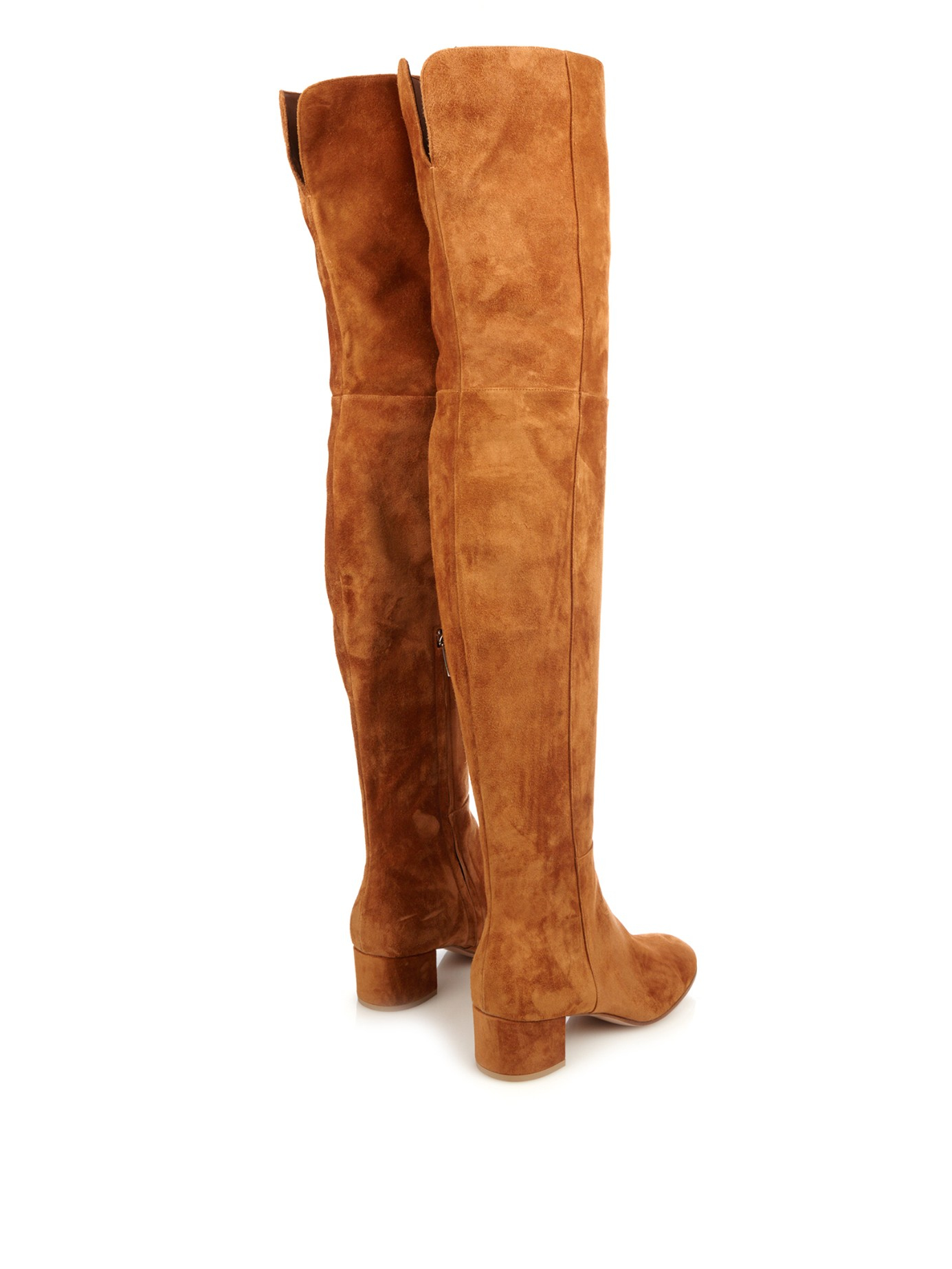 gianvito rolling the knee suede boots in brown