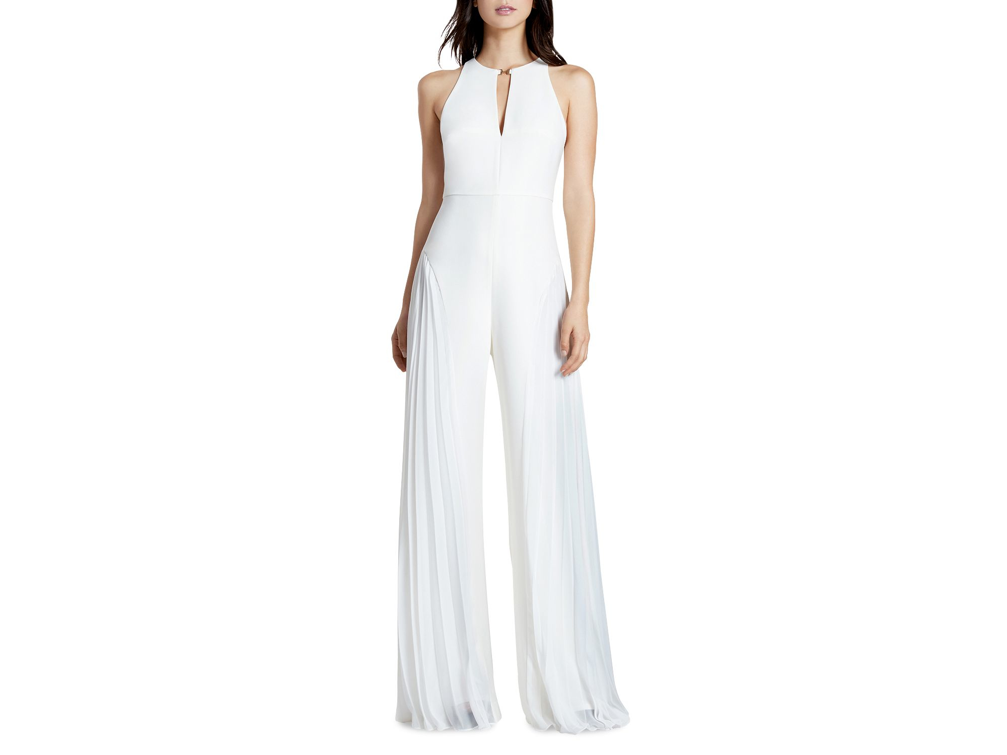 04119db2799 Lyst - Halston Crepe Georgette Jumpsuit in White