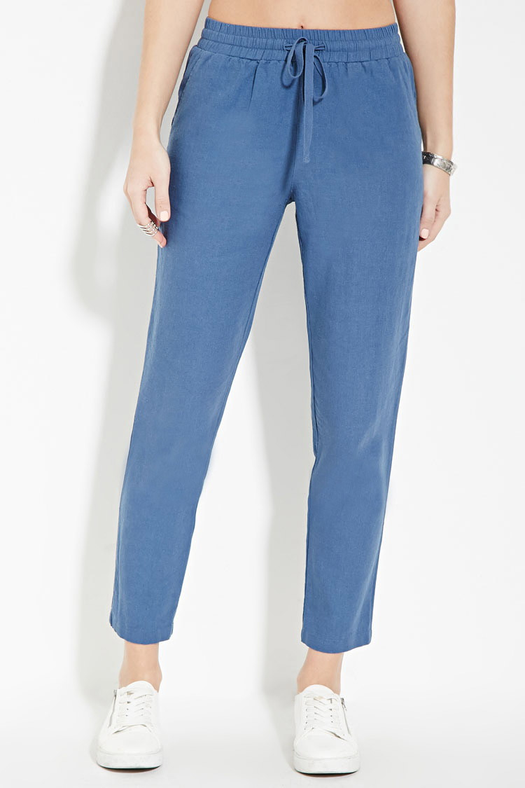 Forever 21 Linen-blend Drawstring Pants in Blue | Lyst