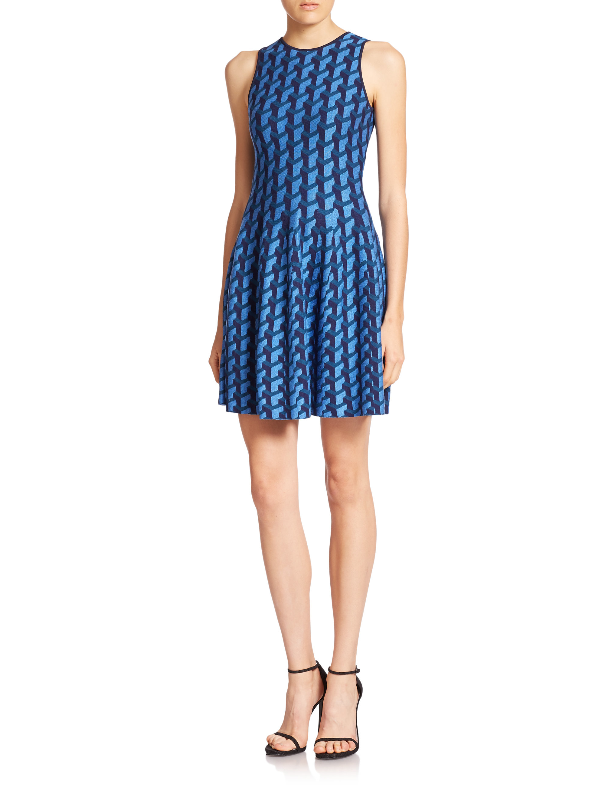Rvn Jacquard Puzzle-print Flared Dress in Blue | Lyst