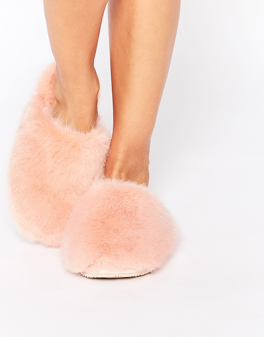 7d7880978d15 Lyst - Ted Baker Breae Pink Faux Fur Slippers in Pink