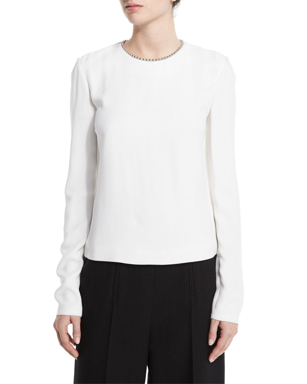 Alexander wang long sleeve blouse w ball chain trim in for Adam lippes women s long sleeve vee t shirt
