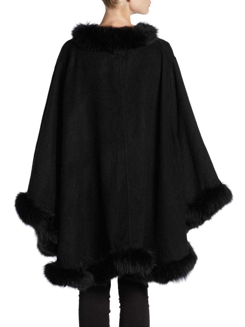 Lyst La Fiorentina Dyed Fox Fur Trimmed Wool Cape In Black