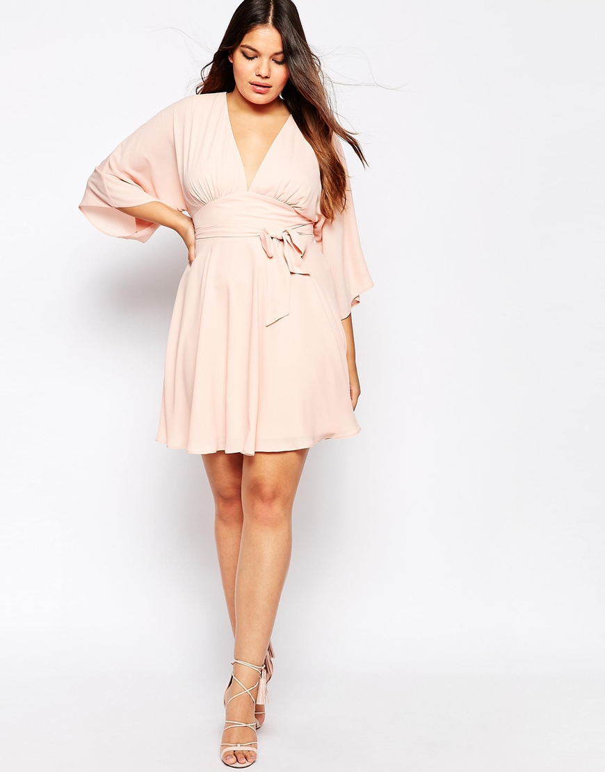 5c285dfce56 ASOS Curve Kaftan Skater Dress in Pink - Lyst