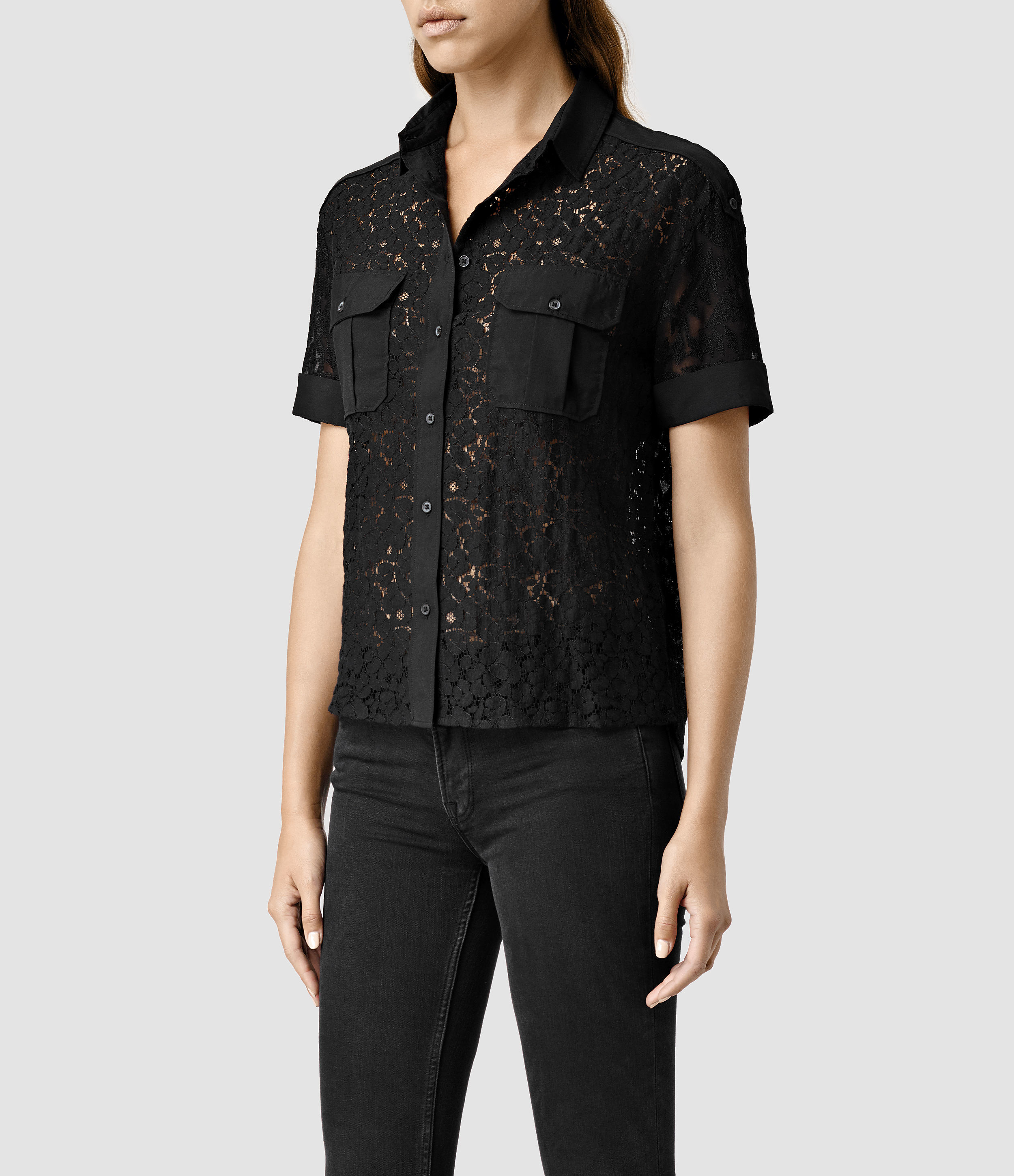 Allsaints Delliance Embroidered Pocket Shirt In Black  Lyst