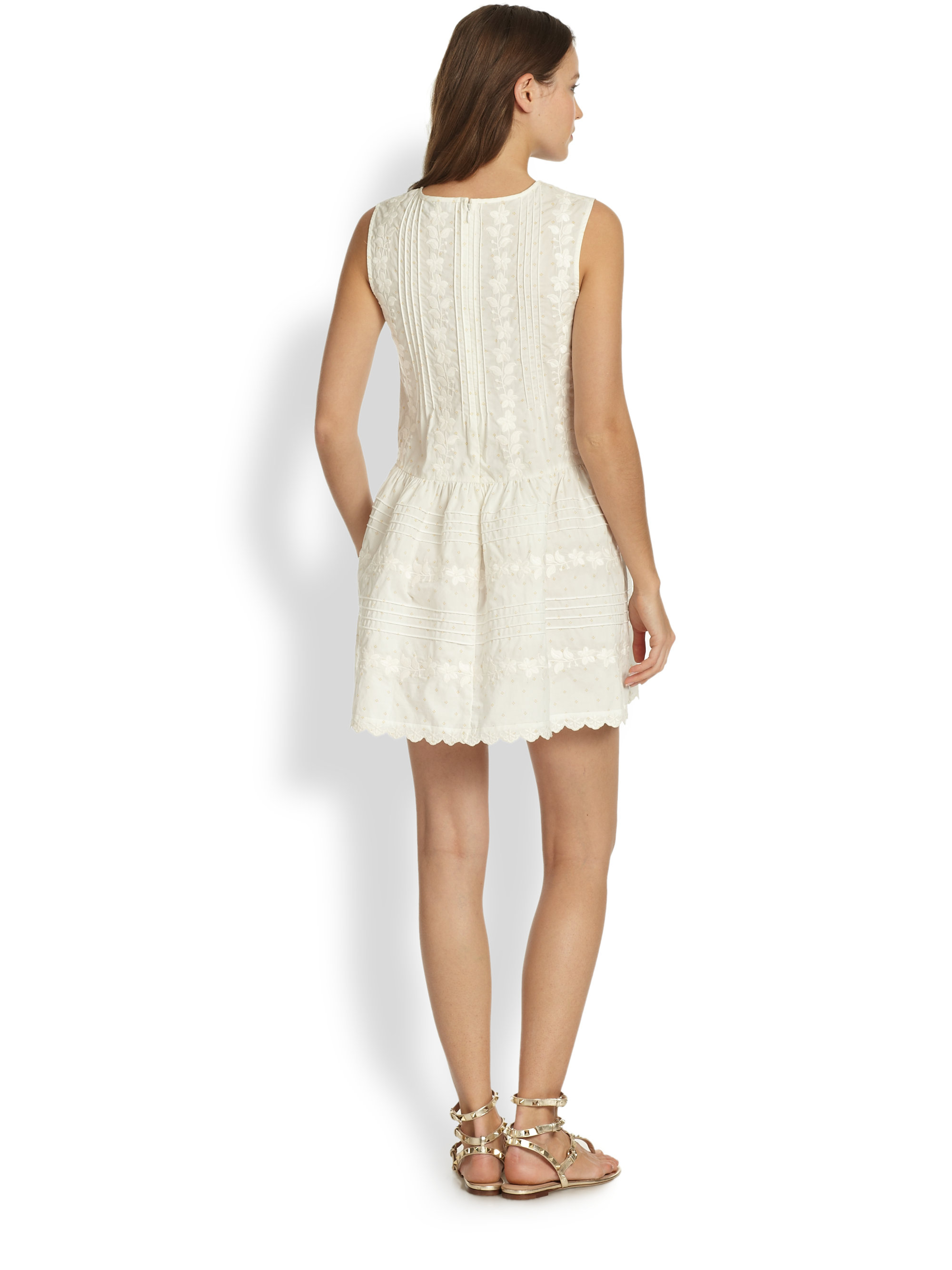 Lyst red valentino embroidered dress in white