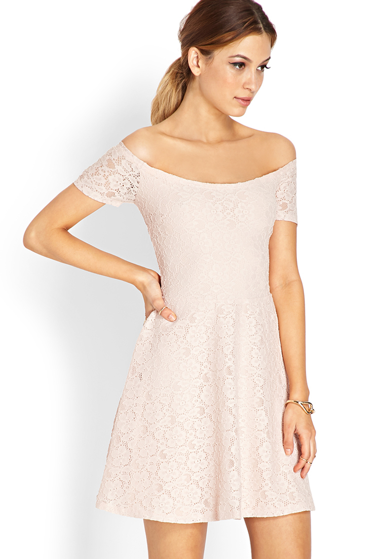 Lyst Forever 21 Sweet Lace Off The Shoulder Dress In Pink