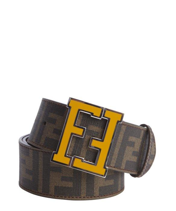 72bec232d8 ... usa lyst fendi tobacco zucca spalmati yellow logo buckle belt in brown  5f71c 20a51