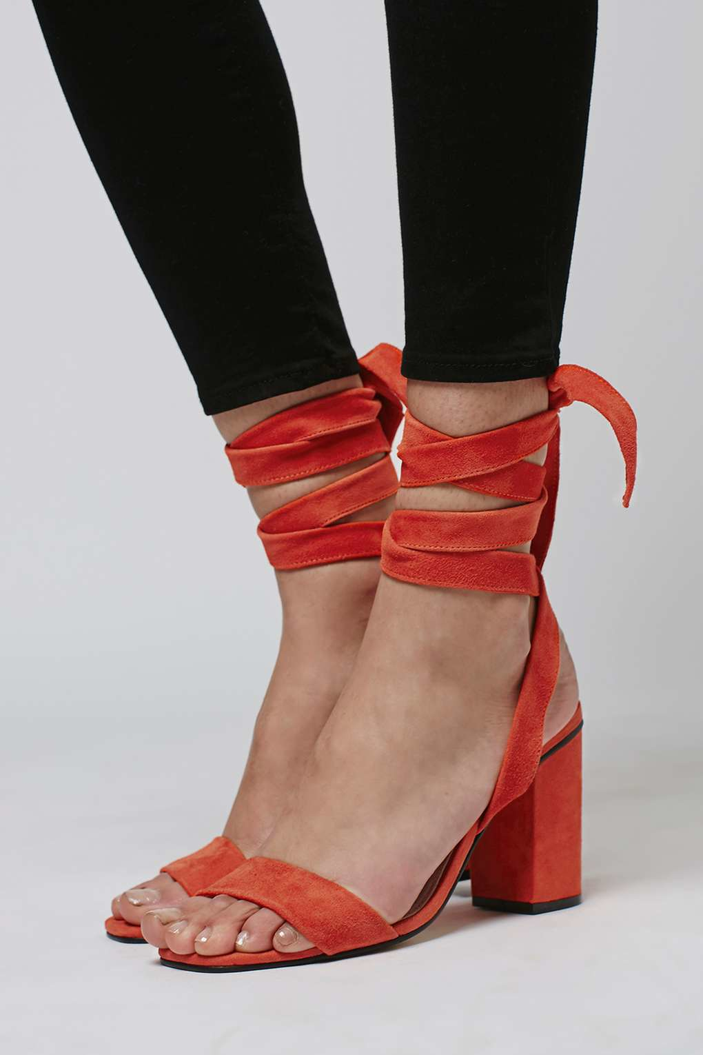 Lyst Topshop Rapping Ankle Tie Sandals In Red