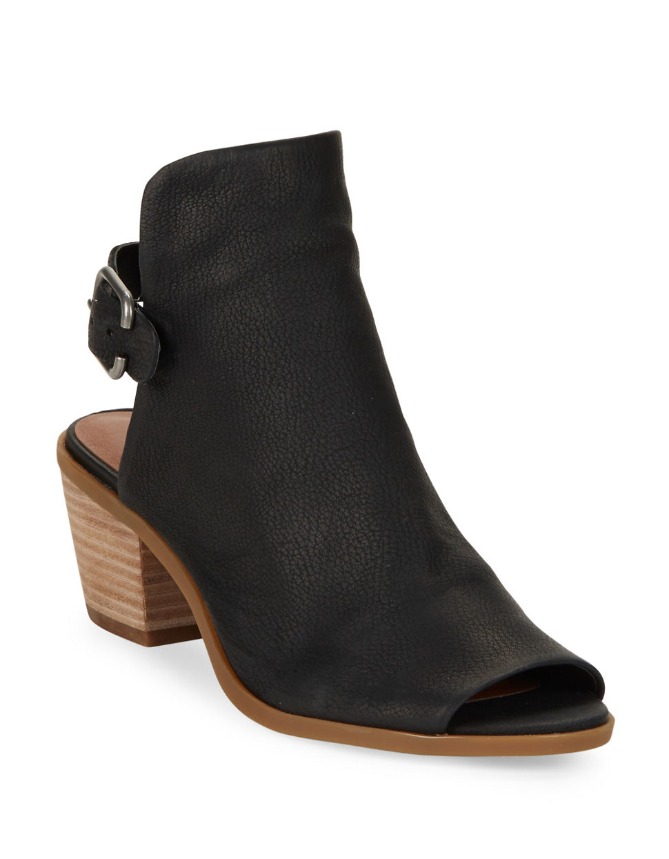 lucky brand bray leather peep toe ankle boots in black lyst