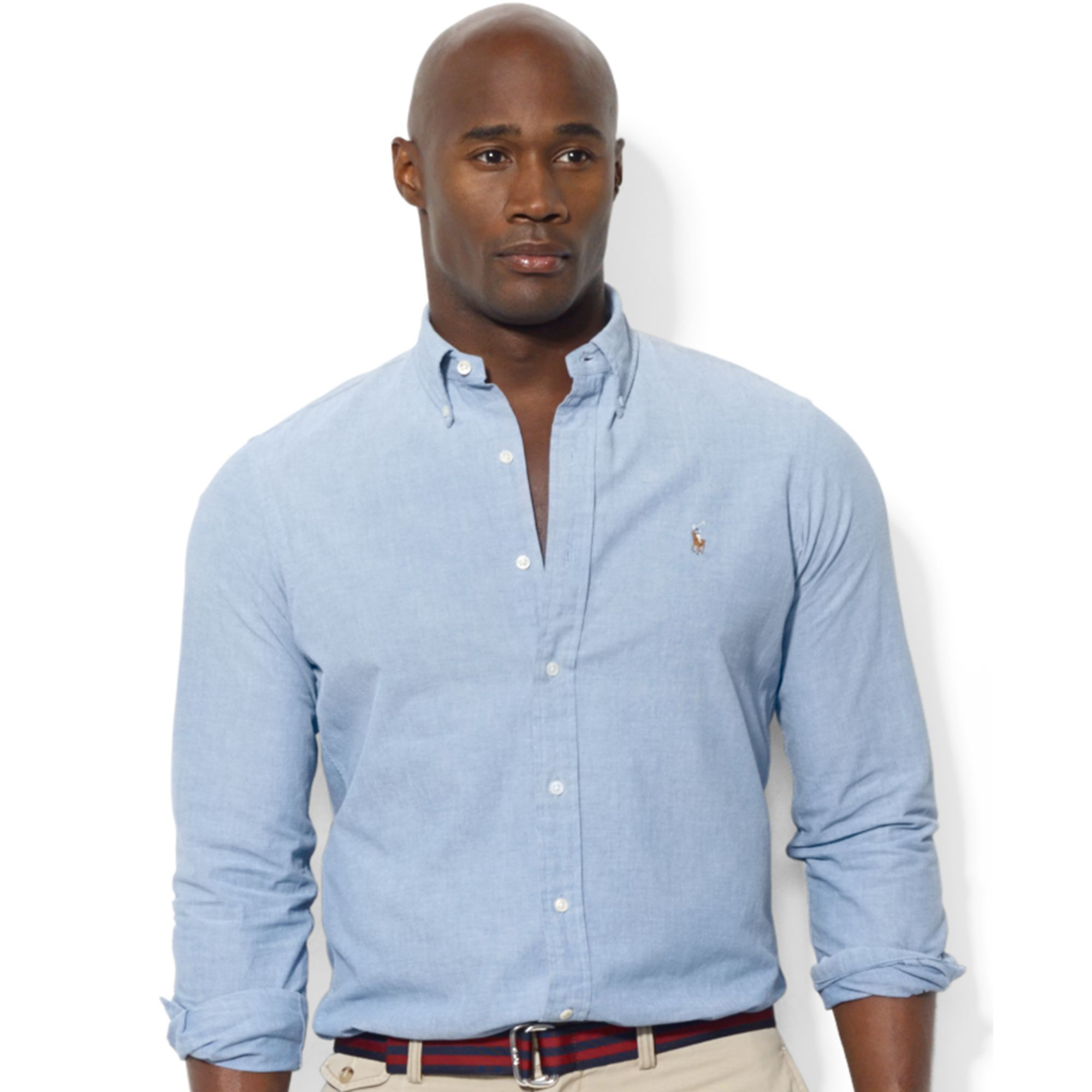 Polo Ralph Lauren Polo Big And Tall Chambray Shirt In Blue
