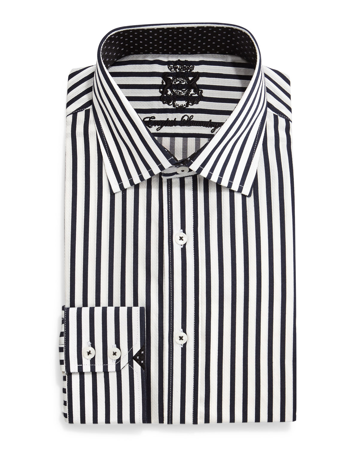english laundry striped woven dress shirt in black for men
