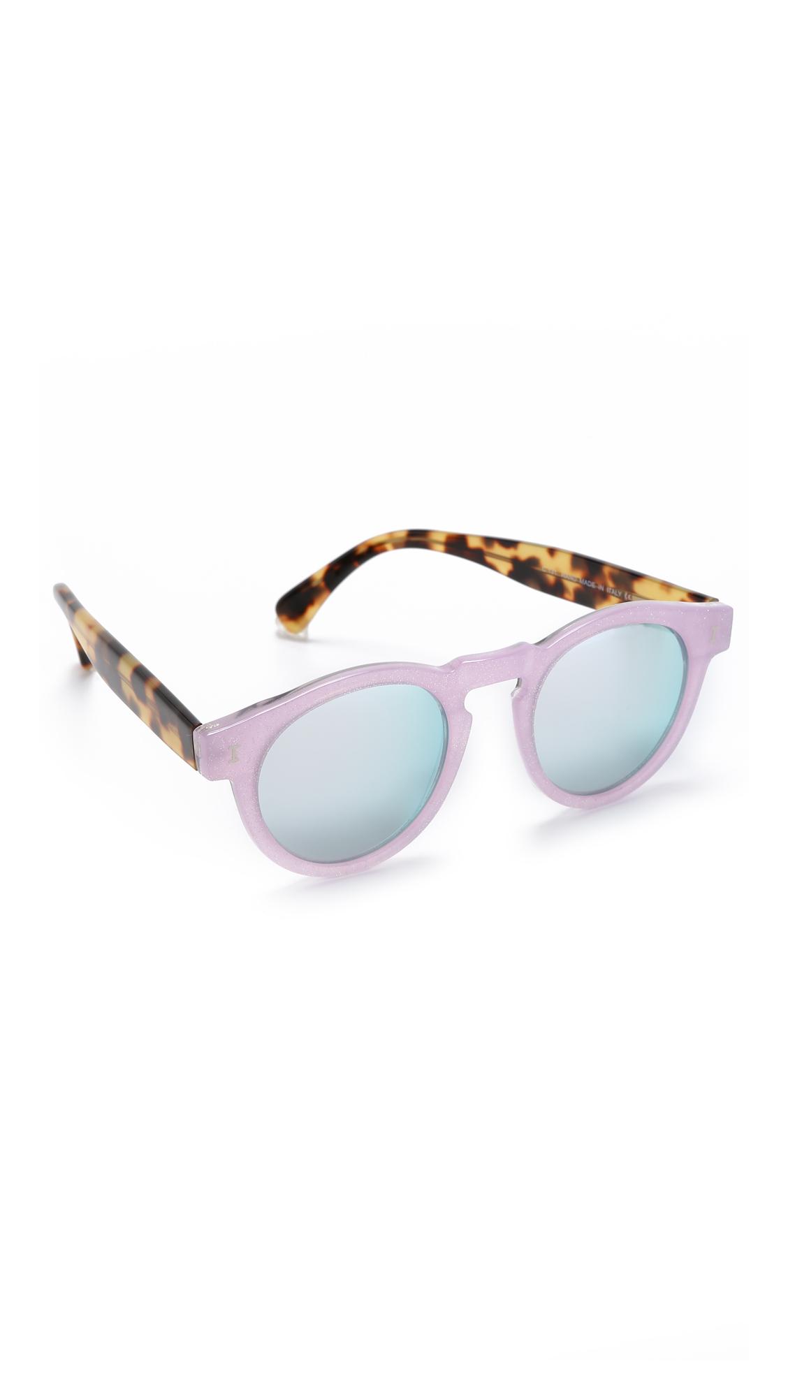 d1492f7f6bb Lyst - Illesteva Leonard Sparkle Mirrored Sunglasses - Pink Sparkle ...